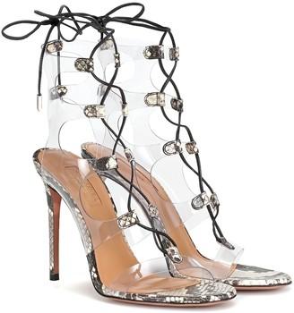 Aquazzura Milos 105 snakeskin and PVC sandals