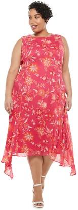 Chaps Plus Size Print Shark-Bite Midi Dress