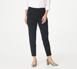 Isaac Mizrahi Live! Tall 24/7 Stretch Flocked Leopard Slim-Leg Pants