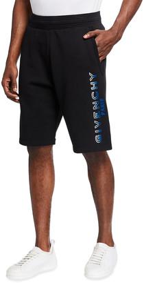 Givenchy Men's Flocked-Logo Sweat Shorts