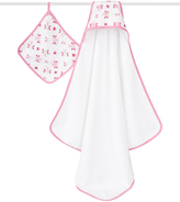 Aden Anais Pink & White Muslin Princess Posie Hooded Towel & Washcloth