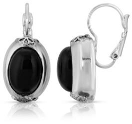 2028 Black Oval Drop Leverback Earrings