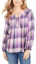 Style&Co. Style & Co Plaid Split-Neck Top, Created for Macy's