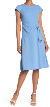 Donna Morgan Fit & Flare Midi Ruched Dress