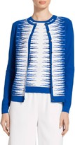 St. John Variable Stripe Intarsia Knit Cardigan