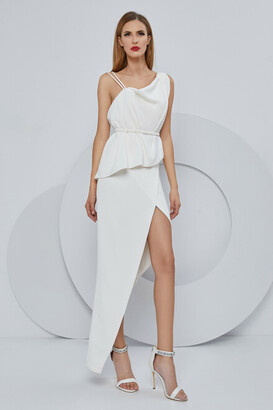 Cristallini Sleeveless Stretch Crepe Peplum Evening Dress