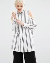 Monki Cold Shoulder Stripe Shirt