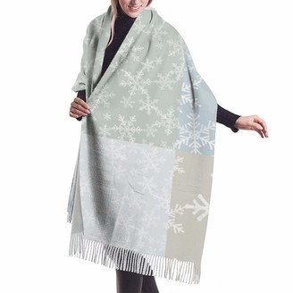 Rcivdkem Christmas Wholecloth Cheater Quilt Lino Snowflakes In Neutral Shawl Wrap Winter Warm Scarf Cape Large Soft Cozy Cashmere Scarf Wrap Womans Warm Shawl Stole