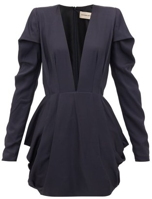 Alexandre Vauthier Draped Satin-twill Mini Dress - Navy