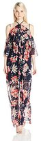 XOXO Women's Printed Ruffled Off the Shoulder Dress with Slit
