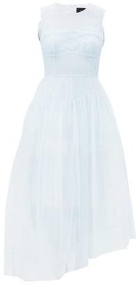 Simone Rocha Asymmetric Tulle Midi Dress - Light Blue