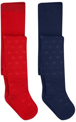 M&Co Love heart tights two pack