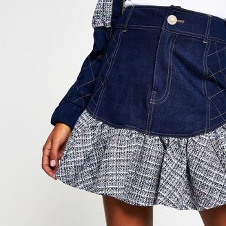 River Island Womens Blue denim boucle frill mini skirt