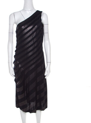 Escada Navy Blue Striped Foil Print Jersey Draped One Shoulder Eyline Dress M