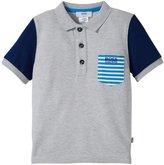 HUGO BOSS Pique Polo Striped Top (Toddler/Kid) - Gray - 6A
