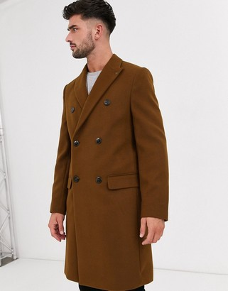 Burton Menswear faux wool double breasted overcoat in rust-Tan