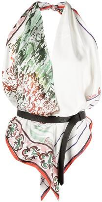 Erika Cavallini Silk Scarf-Style Halter Top