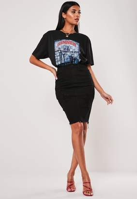 Missguided Tall Black Distressed Long Denim Skirt