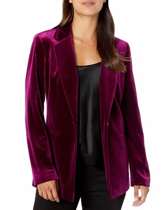 Nine West Women's 1 Button Notch Collar Velvet Jacket