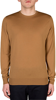 John Smedley Lundy Crew Neck Long Sleeve Pullover, Camel