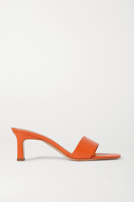 Simon Miller Solo Textured-leather Mules - Orange