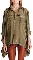 Polo Ralph Lauren Silk Button-Front Chest Patch Pockets Poncho Shirt