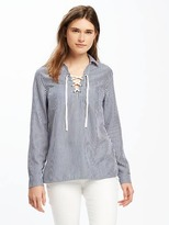 Old Navy Classic Lace-Up Tencel® Shirt for Women