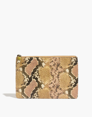 Madewell The Leather Pouch Clutch: Snake Embossed Edition