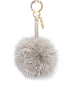 Fendi Light Grey Fox Fur Pom Pom Bag Charm