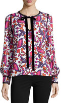 Andrew Gn Long-Sleeve Printed Tie-Neck Blouse, White