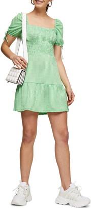 Topshop Gingham Shirred Tea Minidress