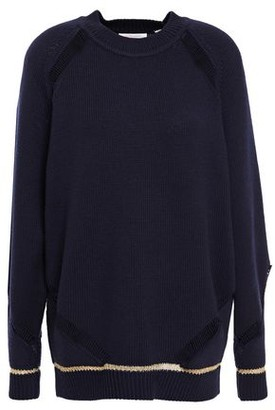 See by Chloe Open Knit-trimmed Wool Sweater