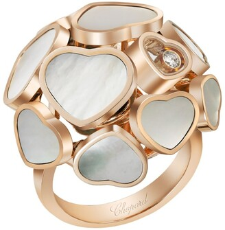 Chopard Rose Gold and Mother-of-Pearl Happy Hearts Ring