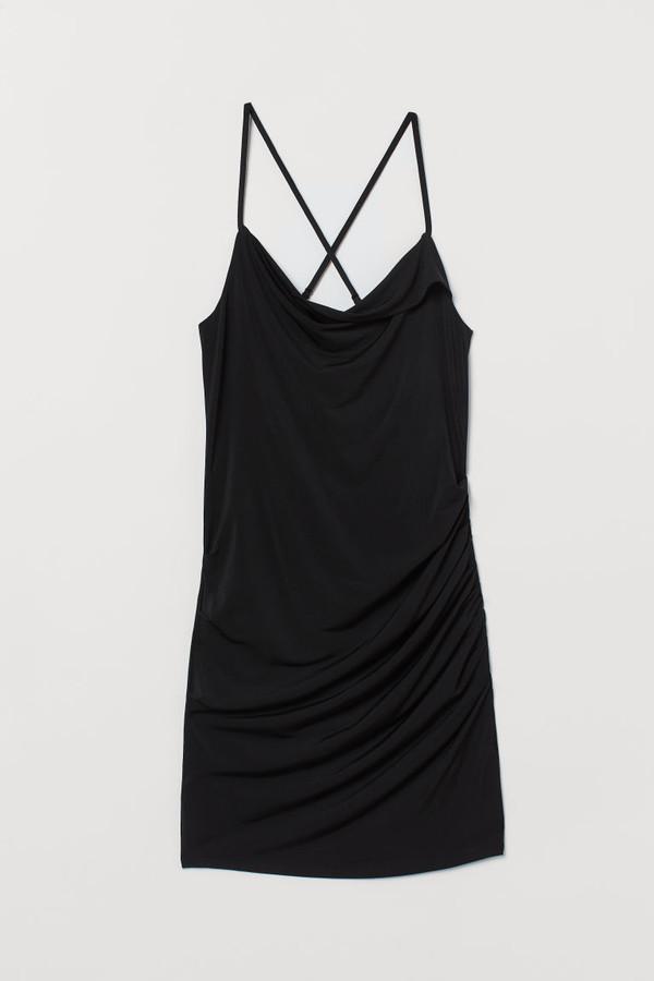 H&M Draped Mini Dress - Black