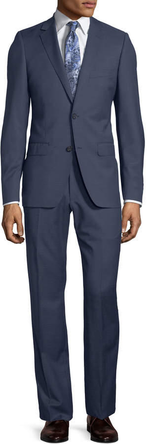 DKNY Slim-Fit Two-Button Check-Print Wool Suit