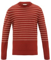Oliver Spencer Pergola Striped Wool Sweater - Mens - Dark Red