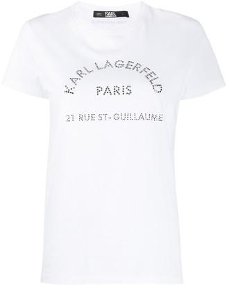 Karl Lagerfeld Paris address-print cotton T-shirt