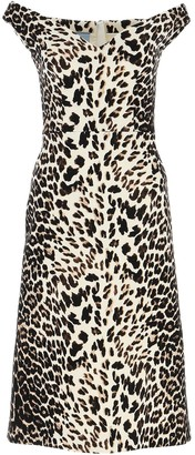 Prada Off The Shoulder Leopard Print Midi Dress
