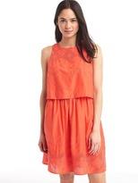 Layered embroidery sleeveless dress