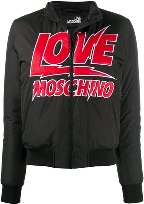 Love Moschino Padded Logo Bomber Jacket
