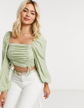 Urban Bliss ruched crop top in sage