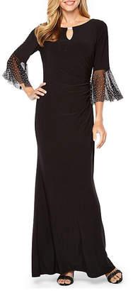 Jackie Jon 3/4 Sleeve Beaded Evening Gown