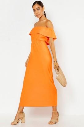 boohoo Bardot Ruffle Maxi Dress