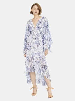 MISA Shadi Kimono Sleeve Chiffon Midi Dress