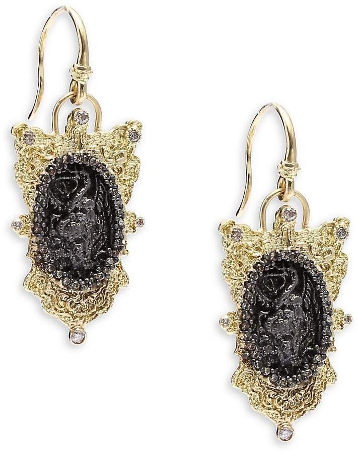 Armenta Women's Old World Champagne Diamond, 18K Yellow Gold & Sterling Silver Oval Coin Filigree Shield Earrings