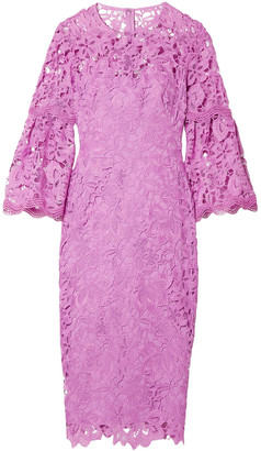 Lela Rose Fluted Guipure Lace Dress