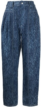 Koché Contrast-Stitching Straight-Leg Trousers