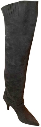 Saint Laurent Lou Grey Suede Boots
