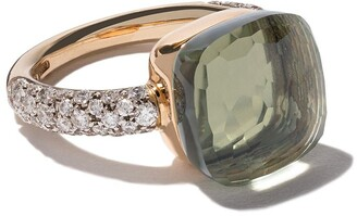 Pomellato 18kt rose & white gold Nudo prasiolite & diamond ring