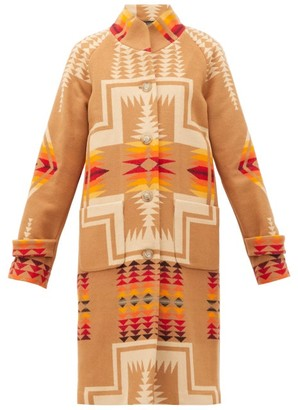 Pendleton Harding Geometric-intarsia Wool-blend Coat - Beige Multi